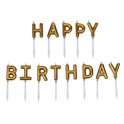 Willcan Gold Color Happy Birthday Candles Cake Toppers13 Molded Letter For Party Time