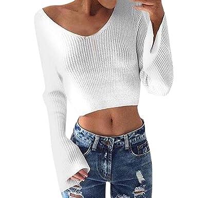 Longra Damen V-Ausschnitt Pullover Strickpullover Weißer Pullover Langarm  Strick Crop Top Strickwaren Bluse Frauen f6173a99f3