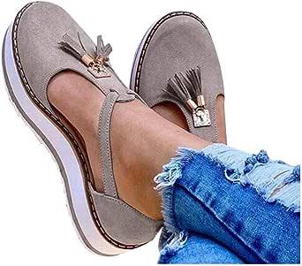 Padaleks Women's Closed Toe Cutout Comfort Flat Heels Summer Sandals Platform Tassel Pumps Shoes Short Boots