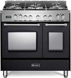 Verona Prestige Series VPFSGE365DE 36 inch. Dual Fuel Range 5 Sealed Burners Double Oven Convection Storage Drawer Matte Black