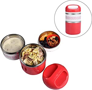 2 Layers Stainless Steel Lunch Containers with Handle, Insulated Lunch Box Stay Hot 3h, Leak-proof Food Containers for Adults, Teens, Work, School - 42 oz, Red