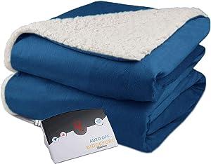 Pure Warmth Velour Sherpa Electric Heated Warming Blanket Twin Denim Blue Washable Auto Shut Off 10 Heat Settings