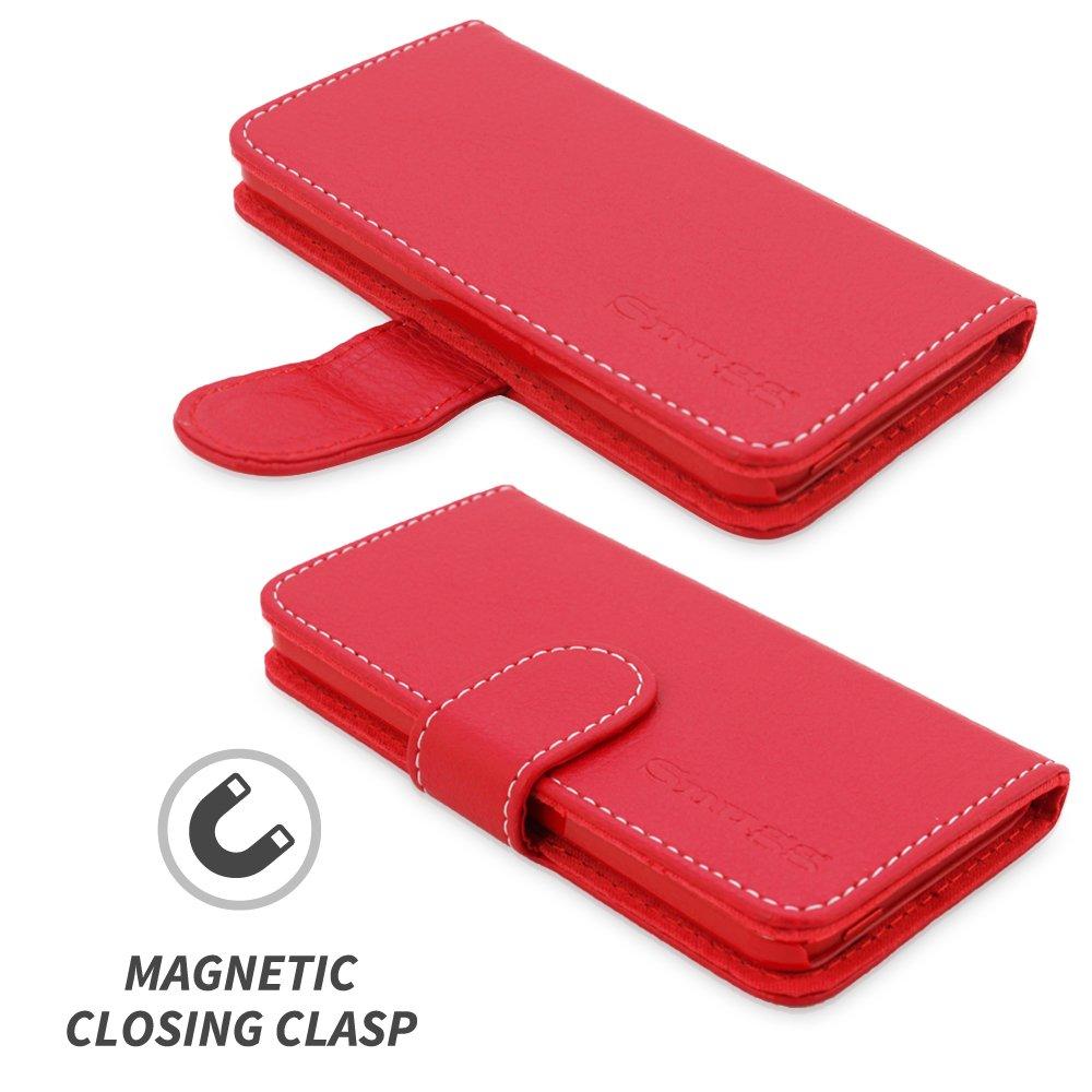 Carcasa Plegable para Apple iPod Touch Dise/ño Ejecutivo Cubierta de Cuero con Billetera Ranuras para Tarjetas Snugg Funda iPod Touch -Rojo Legacy Range Garant/ía de por Vida