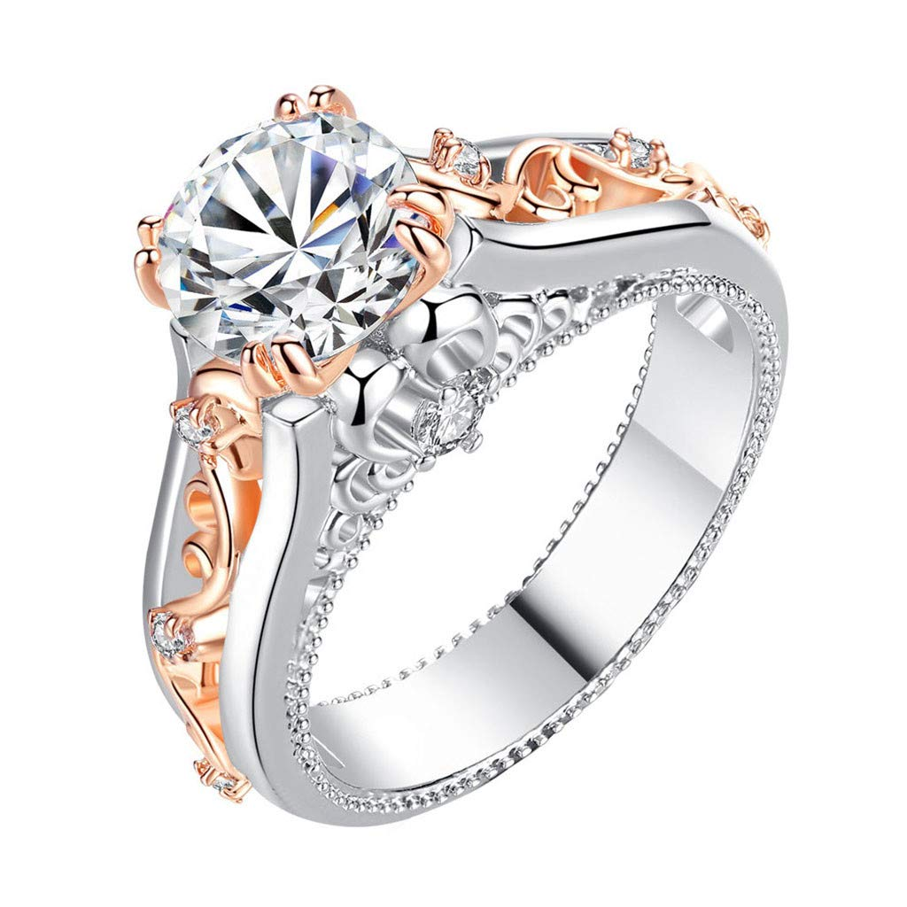 Booboda R443 Simple Rose Gold-Plated Color Ring Ring Jewel Topaz Jewelry Best Gift(Silver6#)