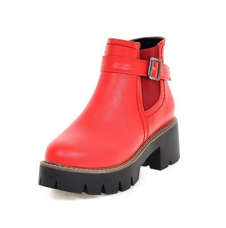 AllhqFashion Women's Round Closed Toe Low-Top Kitten-Heels Solid PU Boots