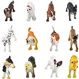 Larcele 12 Clases Simulado Mini Animal Modelo de Plástico Perro Figuras de Juguete para Niños FZG