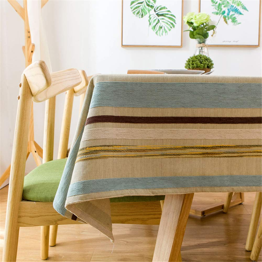 MMHJS Linen Modern Minimalist Table Mat Small Fresh Striped Embroidery Fabric Kitchen Living Room Home Decoration Tablecloth A 60X60cm//24X24In