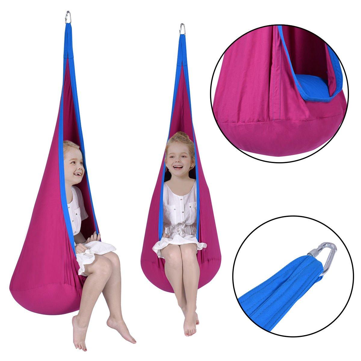 NYC STORES Child Pod Swing Chair Tent Nook Indoor Outdoor Hanging Seat Hammock Kids Rose