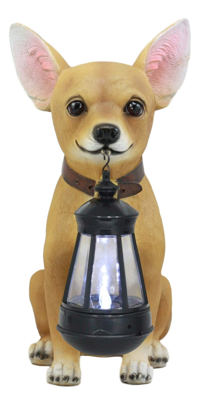 Ebros Picante Mexican Chihuahua Dog Decor Path Lighter Statue 12.5''Tall with Solar LED Light Lantern Lamp This Little Light of Mine