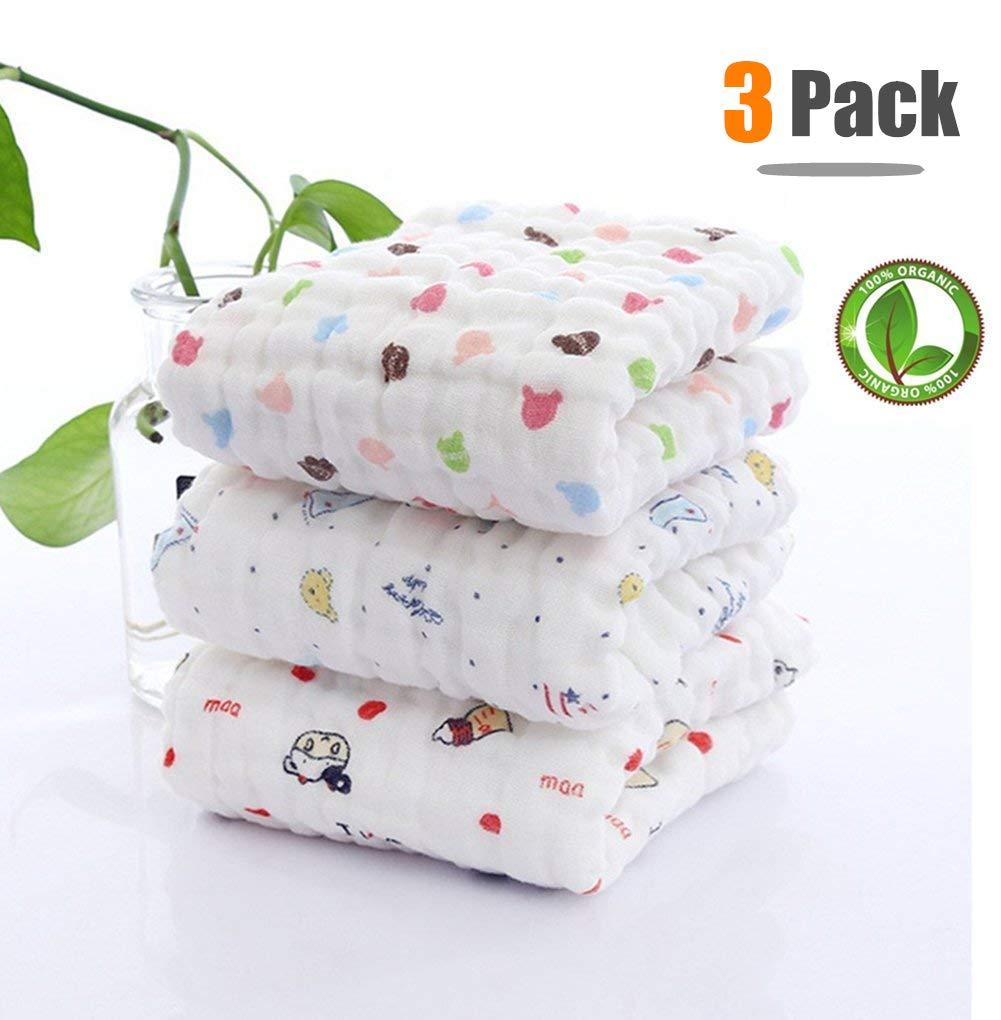 Toalla de baño de bebé con gancho, Chickwin 3-Pack Lindo suave y acogedor Recién nacido 100% algodón 6 capas Muselina Absorbente Baby Washcloth baño ...