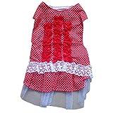 Hold Honey Pet Polk Dot Lace Flower Bridal Veil Dresses Dog Apparel Color Red Size XL
