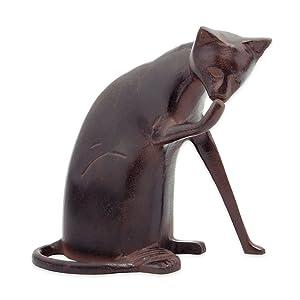 Achla Designs CAT-05 Coy Cat Statue Sculpture Indoor Outdoor Art Decor, Dark Bronze