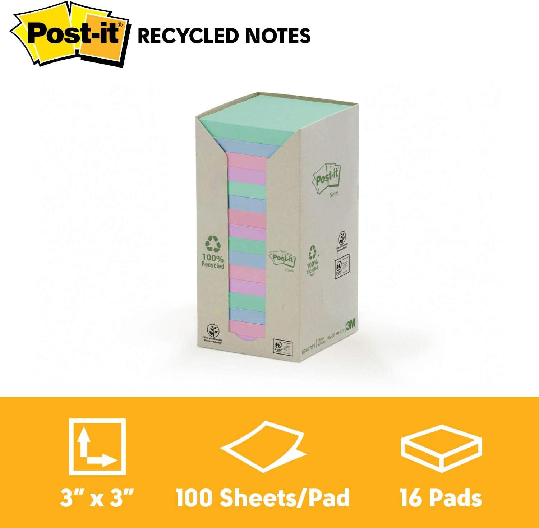 Post-It 654-1RPT - Pack de 16 blocs de notas recicladas , 76 x 76 ...