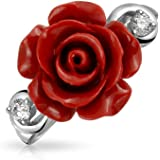 Bling Jewelry 925 Silver Red Resin Flower Rose CZ Modern Ring Rhodium Plated
