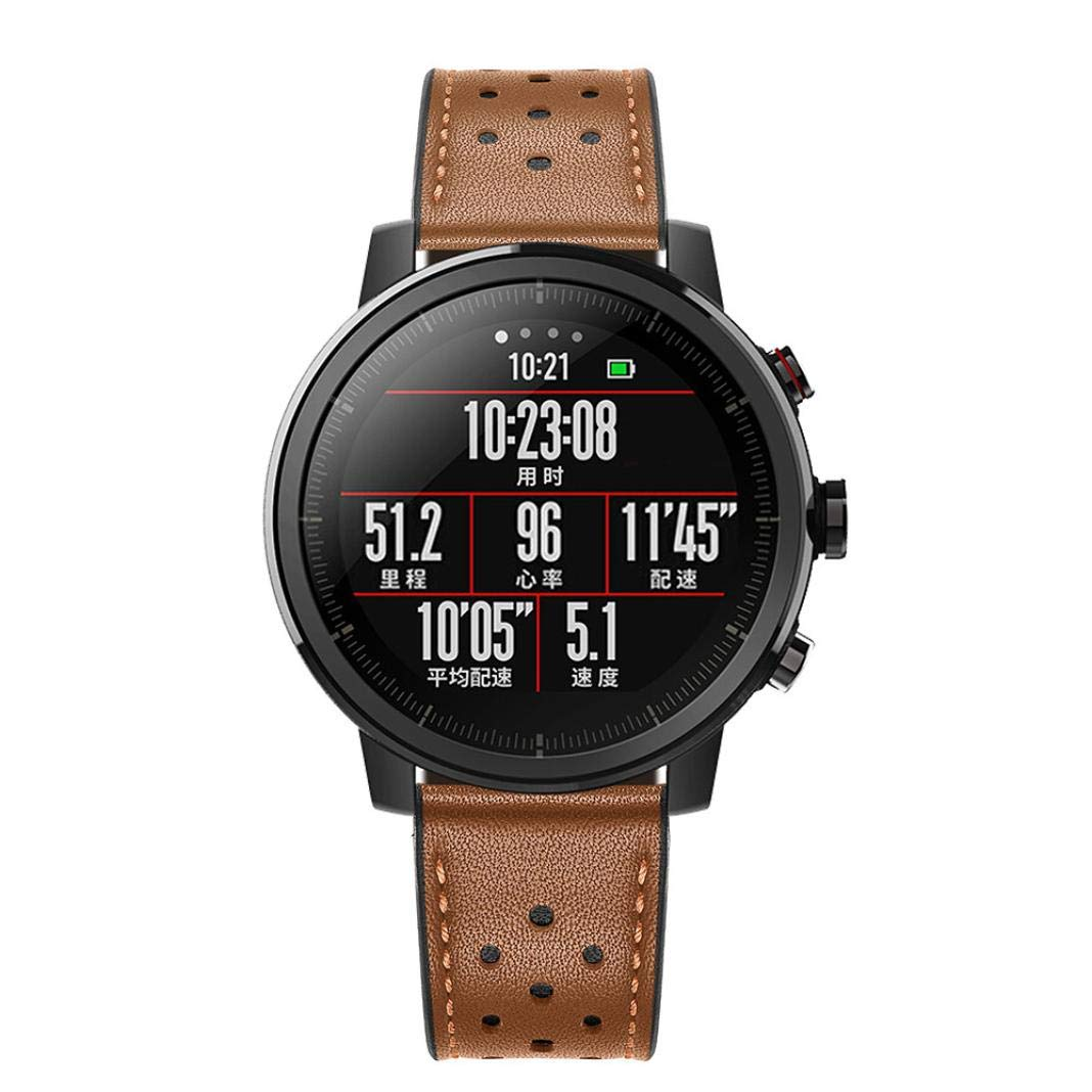 ☀️Modaworld Pulsera de Reloj de Cuero Pulsera de muñequera para Amazfit Stratos 2 / 2S Smart Watch Correas de Reloj Inteligente Pulseras de ...