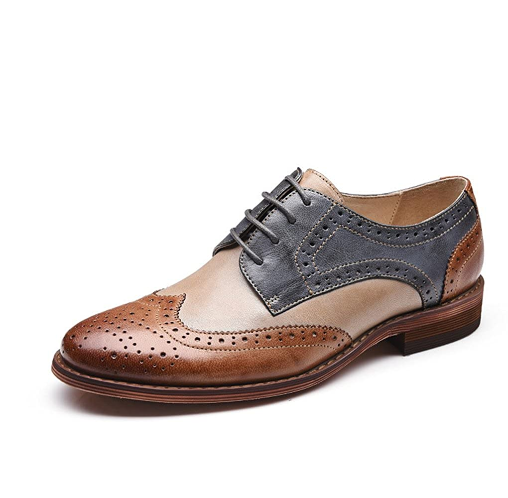 Brownbluee U-lite Women's Perforated Lace-up Wingtip Multicolor Leather Flat Oxfords Vintage Oxford shoes