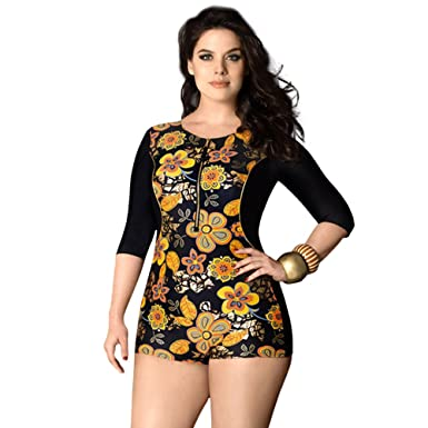 0ba91523e54eb Image Unavailable. Image not available for. Color  BALNEAIRE Women s Plus  Size Long Sleeve Rash Guard Swimsuit ...