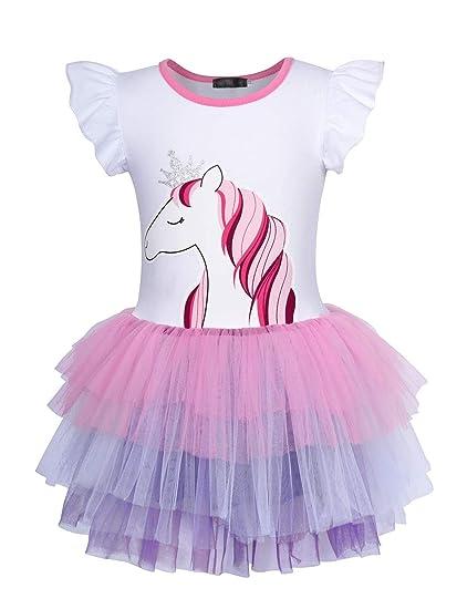 AmzBarley Unicorno Festa Vestito da Principessa Stellato Senza Maniche Abiti per Ragazza Bambina Partito Vestire Costume Compleanno Carnevale Halloween