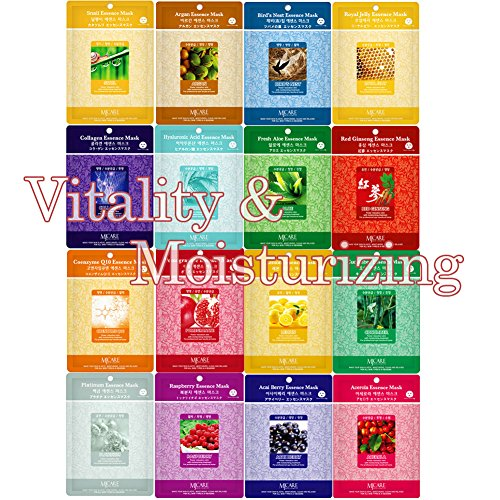 Pack of 16, The Elixir Beauty Korean Beauty Cosmetics Collagen Essence Full Face Mask Pack Sheet for Vitaity & Moisturizing
