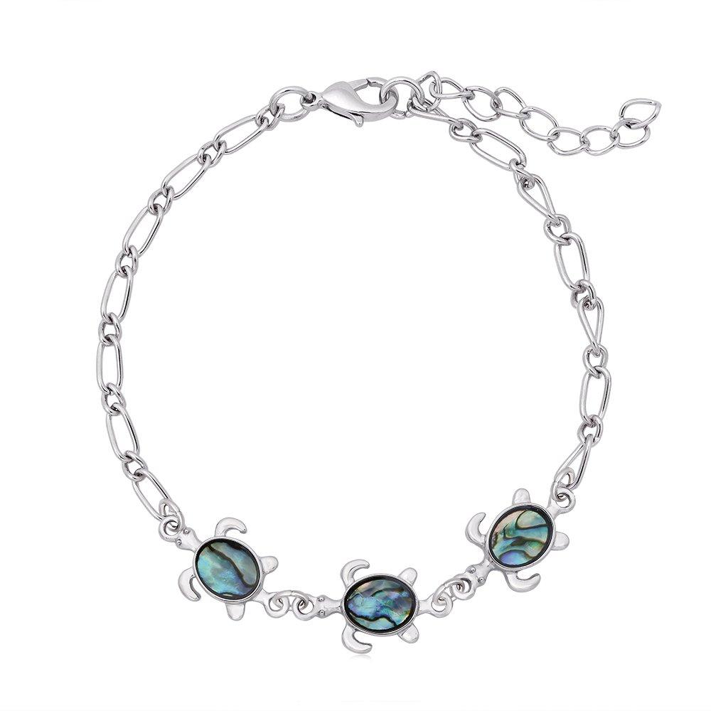 GUANDU 3 Little Cute Turtles Abalone Shell Link Bracelet for Women Girls Gifts