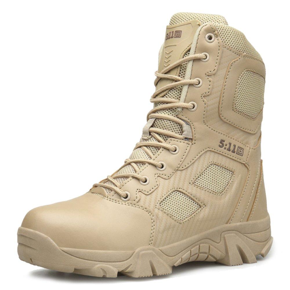 MERRYHE Herren Side Zipper Leder Armee Militär Wüstenkampfstiefel Lace up Sicherheit Cadet Sicherheit Polizei Stiefel Camping Wandern Klettern Schuhe