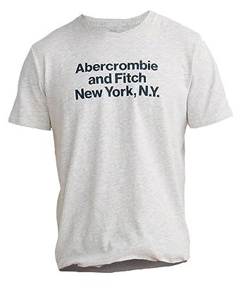c6d9b00a0729 Abercrombie Men's Print Logo Crew Tee T-Shirt, Size 2XL, Light Grey Texture