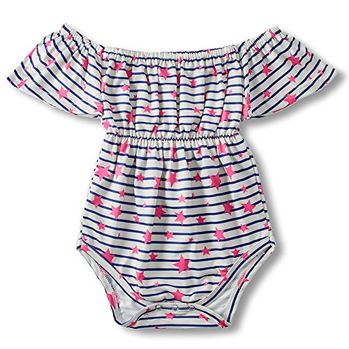 Infant Innocent Funny Printing Button Up Colourful Simple Strip Pattern Clothes Baby Girl Outfit Layette Bodysuit Kids' One-Piece Size 70