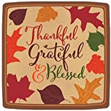 """Amscan Autumn Traditions Thanksgiving Party Square Paper Dessert Plates Tableware, Brown, 7.3"""" x 7.3"""""""