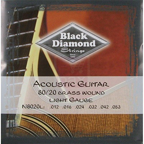Black Diamond Strings 80/20 Brass Wound Acoustic Guitar Strings 12-53 ()