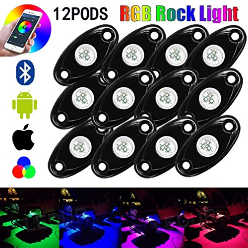 TJX-Inc RGB LED Rock Lights Bluetooth Multicolor Neon LED Light Kit for Jeep Off Road Truck Car ATV SUV Vehicle Boat Underbody Glow Trail Rig Neon Lights Waterproof (12 POD)