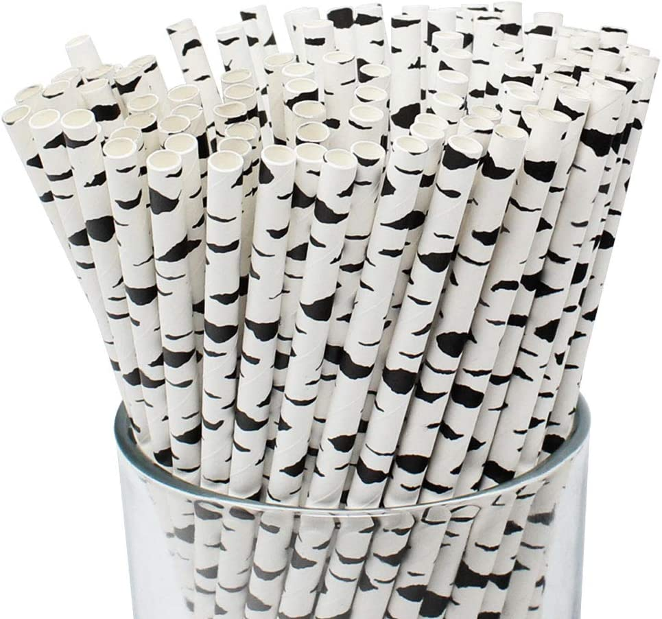 Just Artifacts Premium Biodegradable Disposable Drinking Paper Straws (100pcs, Birch Branch)