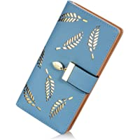Skudgear Women's Long Leaf Designed Bi-Fold RFID Blocking Leather Wallet Elegant Buckle Clutch Purses