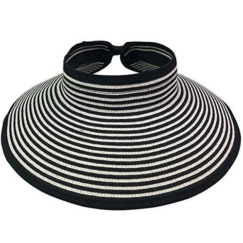 - Womens Straw Sun Hat Summer Beach Foldable Visor Cap (Black/White)