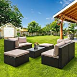 PatioPost Patio Furniture Sets Outdoor 7 Pcs PE Wicker Rattan Sofa Set Sectional with Detachable Cushion Covers