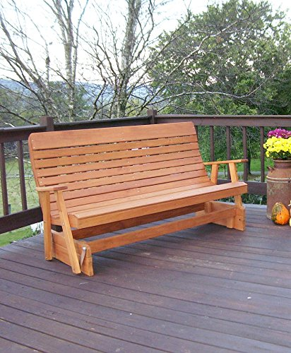 Aspen Tree Interiors 6' PORCH GLIDER Outdoor Patio Bench, 2 Person Wooden Loveseat Patio Benches Made With Long Lasting Treated Wood, Amish Made Quality (6 ft, Cedar Stain) - Cedar Adirondack Tree Bench