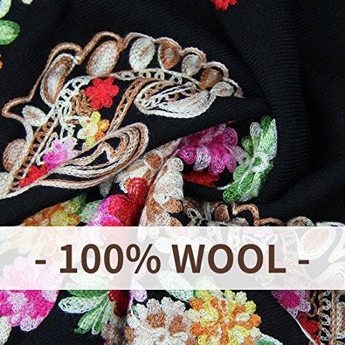 DANA XU Embroidery 100% Pure Wool Pashmina Shawls and Wraps (Black) by DANA XU (Image #4)