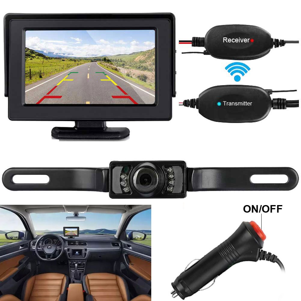 ZSMJ Wireless Backup Camera and Monitor Kit 9V-24V Rear View System For Car SUV Van Night Vision Waterproof camera with Guide lines