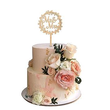 HUAESIN Cake Topper Boda Cake Topper Wedding Mr Mrs Topper ...