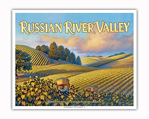 Pacifica Island Art Russian River Valley Wineries - Along Westside Road - North Coast AVA Vineyards - California Wine Country Art by Kerne Erickson - Fine Art Print - 16in x 20in