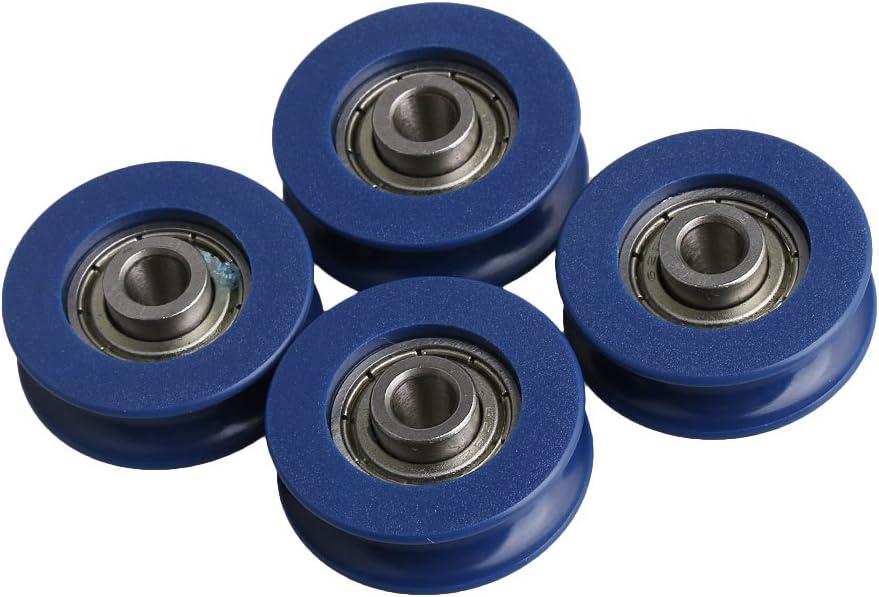 CNBTR - Rueda de polea de plástico con rodamiento de acero, 5 mm, 4 unidades