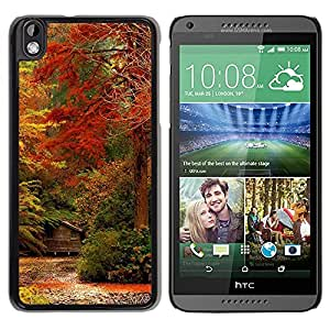 Paccase / SLIM PC / Aliminium Casa Carcasa Funda Case Cover para - Fall Leaves Colors Red Yellow Forest - HTC DESIRE 816