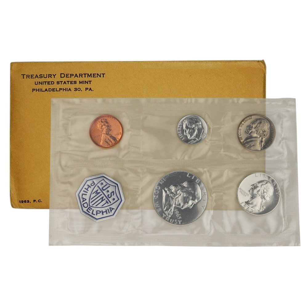 1963 US 5 Coin Proof Set Silver Coins and Envelope with Silver Franklin Half $