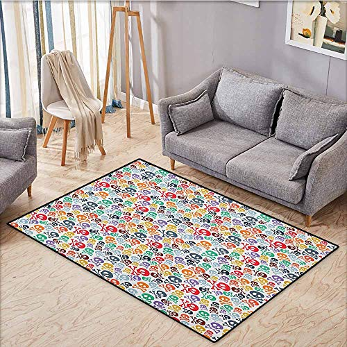 Large Door mat,Skull,Halloween Themed Colorful Skulls and Crossbones Funny Cartoon Style Pattern Print,Anti-Slip Doormat Footpad Machine Washable,3'3