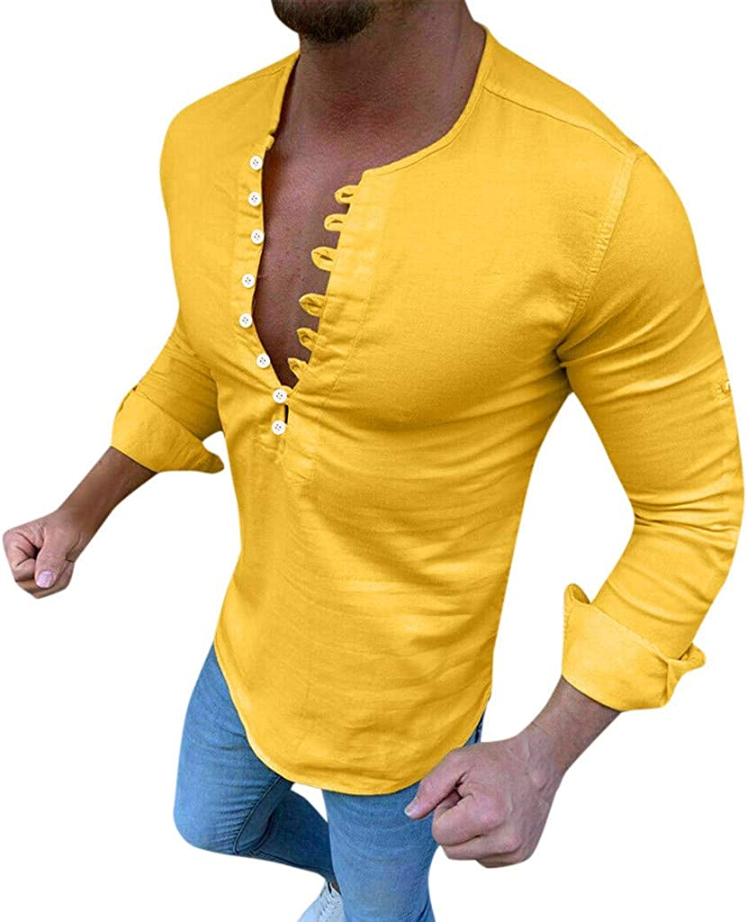 Mens Linen Shirts Tronet Mens Fashionable Baggy Cotton Linen Solid Color Short Sleeve Retro T Shirts Tops Blouse
