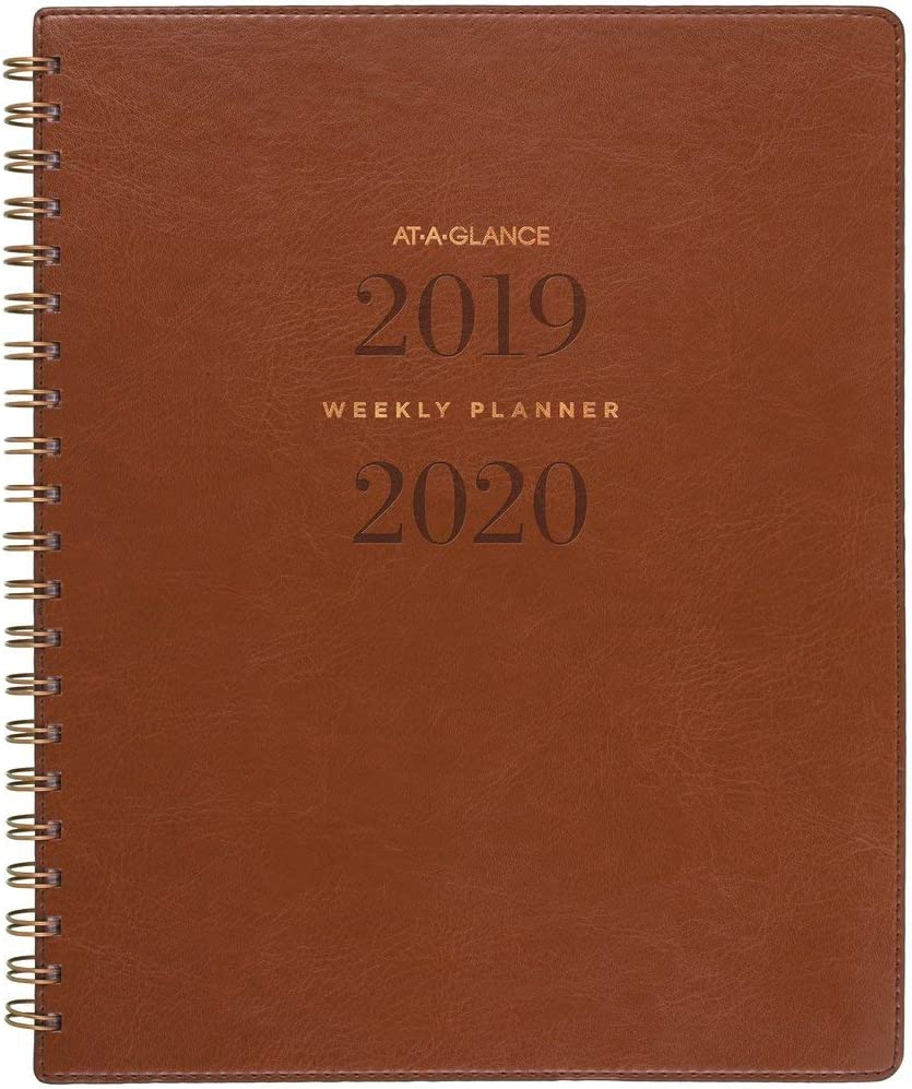 "AT-A-GLANCE 2019-2020 Academic Year Weekly & Monthly Planner, Large, 8-1/2"" x 11"", Signature, Distressed Brown (YP905A09)"
