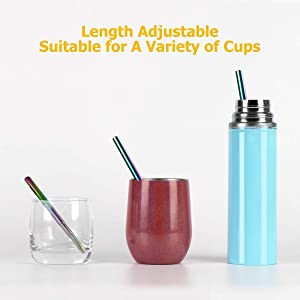 Yoocaa Reusable Travel Collapsible Straws - Portable Drinking Stainless Steel Rainbow Straws with Carrying Case and Cleaning Brush, BPA Free - Silver (Color: Colorful Straw - Silver Case)