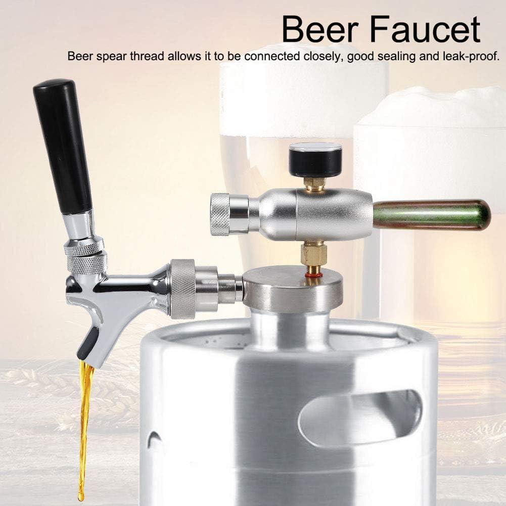 mango de grifo largo es c/ómodo de agarrar resistente a la corrosi/ón y duradero perfecto dispensador de cerveza para mini barril de 2 l//3,6 l//4 l no se oxida Grifo de cerveza de acero inoxidable