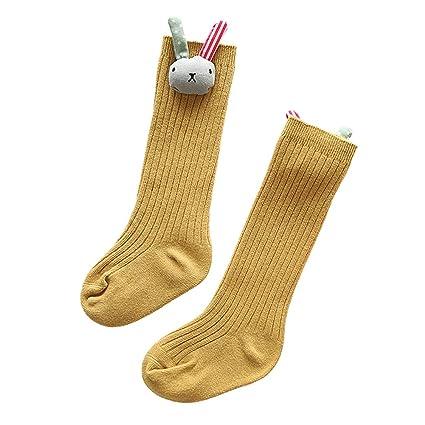 VelvxKl - Calcetines Largos de algodón con diseño de Flor de Conejo Amarillo Amarillo M