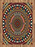 Tribal Area Rug by Ambesonne, African Folkloric Tribe Round Pattern with Ethnic Colors Aztec Artwork, Flat Woven Accent Rug for Living Room Bedroom Dining Room, 5.2 x 7.5 FT, Jade Ruby and Mustard