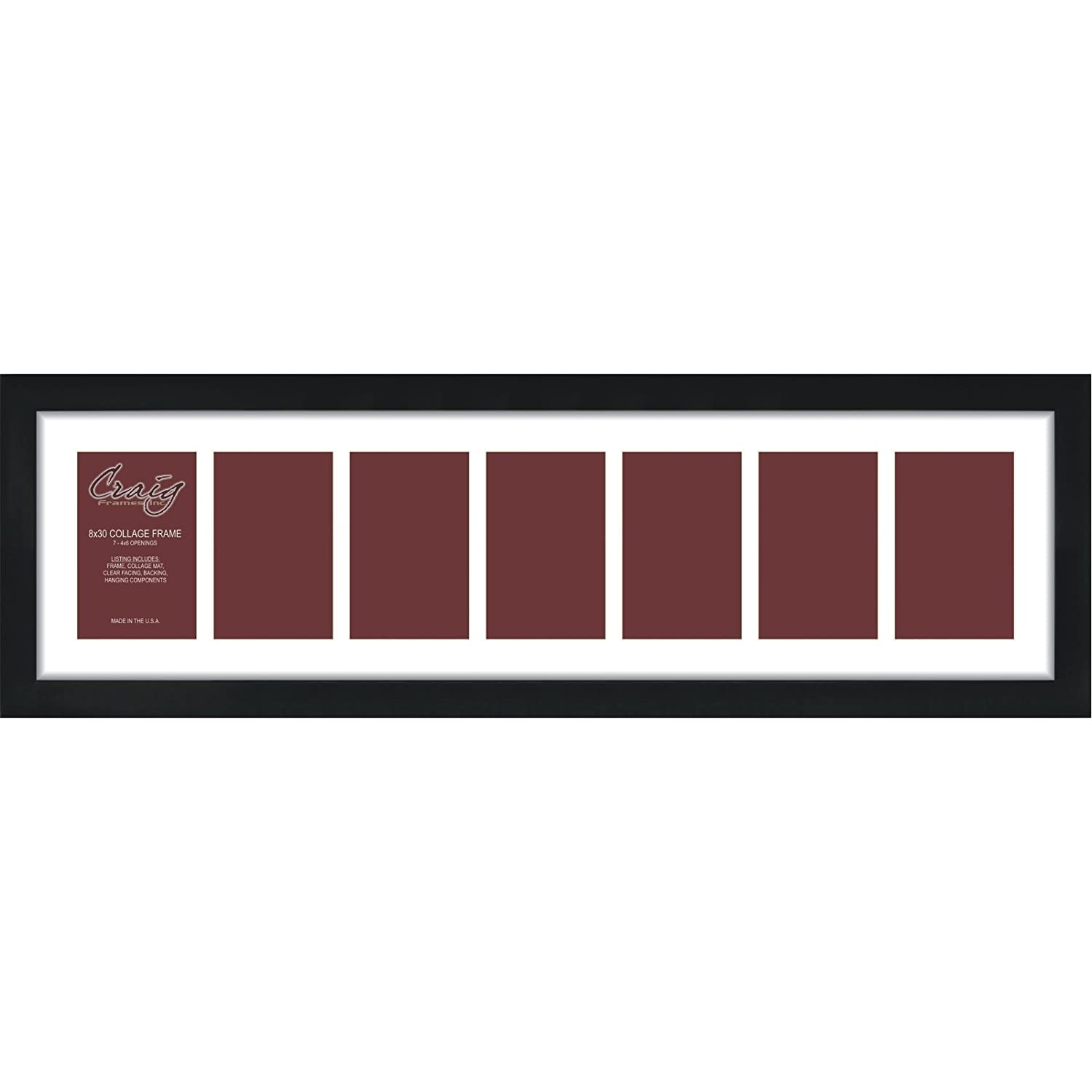 Amazon craig frames 1wb3bk 8 by 30 inch black picture frame amazon craig frames 1wb3bk 8 by 30 inch black picture frame single white collage mat with 7 4 by 6 inch openings jeuxipadfo Gallery